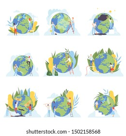People Cleaning the Earth Planet Set, Volunteers Taking Care About Planet Ecology, Environment, Nature Protection Flat Vector Illustration