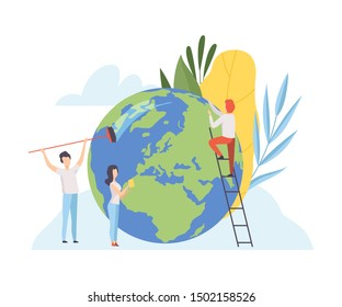 People Cleaning the Earth Planet, Volunteers Taking Care About Planet Ecology, Environment, Nature Protection Flat Vector Illustration