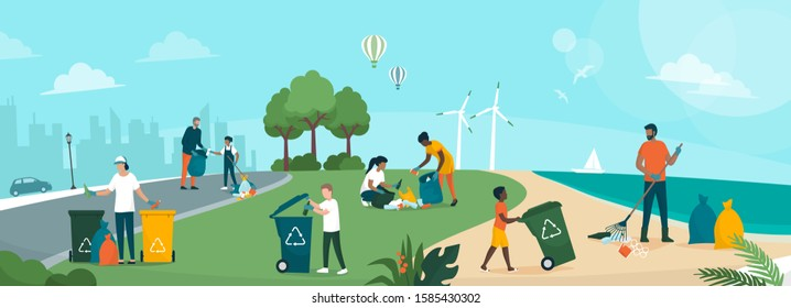 People cleaning planet earth and building a better future together: they are collecting and separating waste in the city street, in a park and at the beach, environmental protection concept