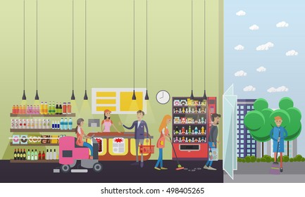 People cleaning store while customers shopping. Vector illustration in flat retro style. Floor care and cleaning service in supermarket shop.