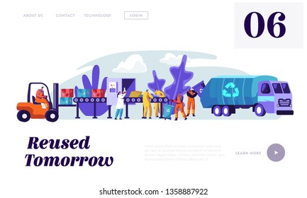 People Cleaning Trash to Reduce Littering Landing Page. Man Collect Garbage from Rubbish Bin to Lorry with Recycling Sign. Woman Utilize Litter Website or Web Page. Flat Cartoon Vector Illustration