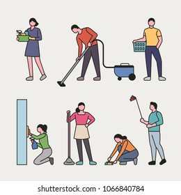 People cleaning in various ways. vector illustration flat design