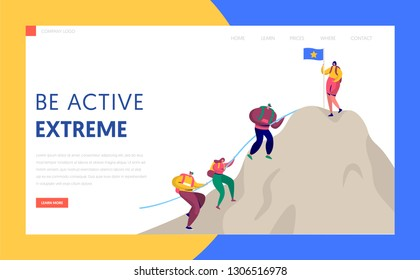People Climb Rock Mountain to Victory Top Flag Landing Page. Sport Adventure Challenge Aim for Trekking Character with Backpack. Alpinist Target Website or Web Page. Flat Cartoon Vector Illustration