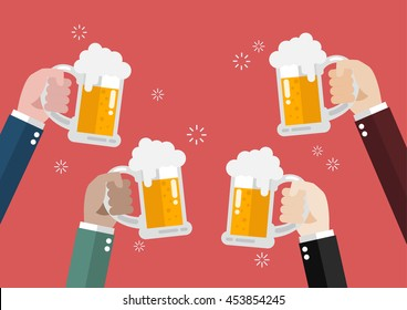 People clinking beer glasses. concept of cheering people party celebration