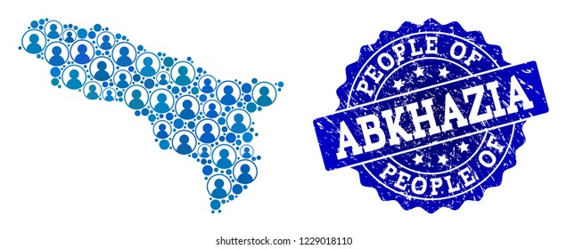 People collage of blue population map of Abkhazia and rubber seal stamp. Vector seal with scratched rubber texture. Mosaic map of Abkhazia constructed with rounded users.