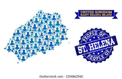 People collage of blue population map of Saint Helena Island and grunge seal. Vector seal with scratched rubber texture. Mosaic map of Saint Helena Island designed with rounded users.