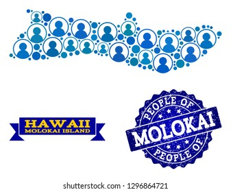 People collage of blue population map of Molokai Island and rubber seal. Vector seal with grunge rubber texture. Mosaic map of Molokai Island designed with rounded users.