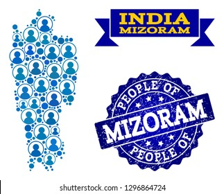 People collage of blue population map of Mizoram State and rubber seal. Vector seal with scratched rubber texture. Mosaic map of Mizoram State constructed with rounded users.