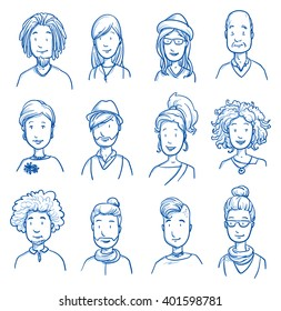 People collection CASUAL. Set of various happy men and women in casual clothes, mixed age expressing positive emotions. Hand drawn line art cartoon vector illustration.