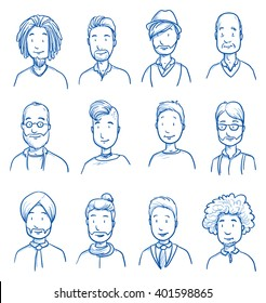 People collection MEN. Set of various happy men in business and casual clothes, mixed age expressing positive emotions. Hand drawn line art cartoon vector illustration.