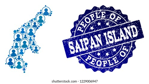 People combination of blue population map of Saipan Island and rubber seal. Vector seal with scratched rubber texture. Mosaic map of Saipan Island designed with rounded users.