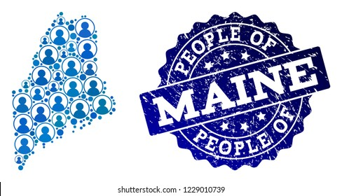 People combination of blue population map of Maine State and rubber seal stamp. Vector seal with corroded rubber texture. Mosaic map of Maine State designed with rounded users.
