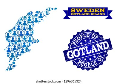People combination of blue population map of Gotland Island and rubber stamp. Vector watermark with unclean rubber texture. Mosaic map of Gotland Island designed with rounded users.