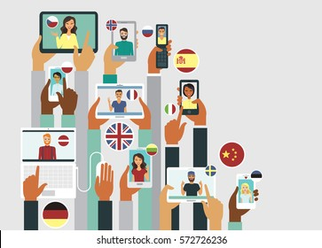 People communicate online in different languages communication concept
