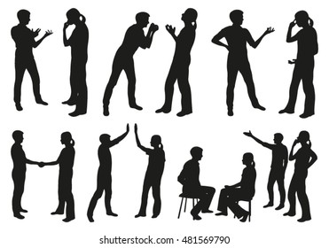 People Communicating Vector Silhouettes