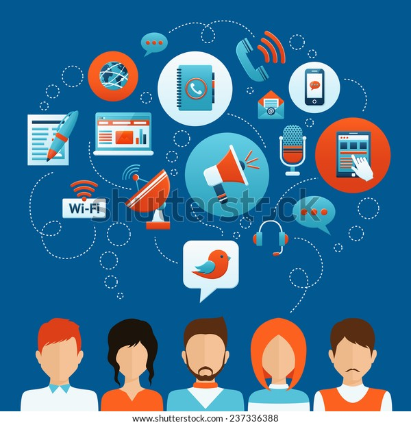 People communication concept with male and female avatars and social network icons vector illustration