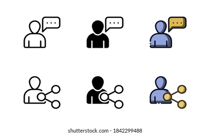 People communication icon. With outline, glyph, and filled outline styles