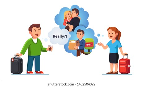 People communication, woman telling rumors stories, secrets, gossiping about their work colleagues and fellow workers to man. Busybody gossip concept. Flat vector character illustration