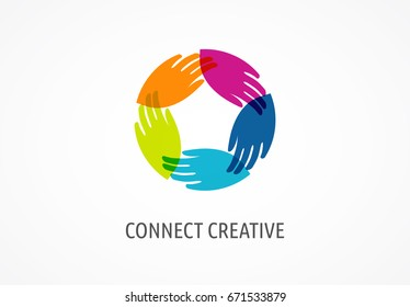 People, community, creative hub, social connection icons and logo set