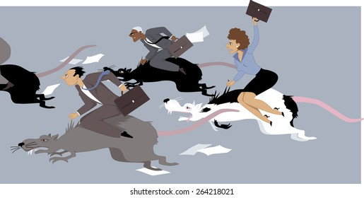 People compete in a rat race, riding giant rats, vector illustration, no transparencies, EPS 8