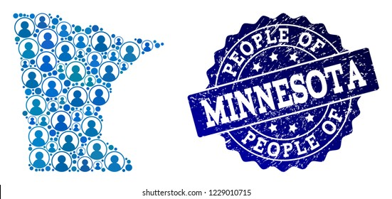 People composition of blue population map of Minnesota State and rubber seal. Vector seal with corroded rubber texture. Mosaic map of Minnesota State constructed with rounded users.
