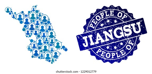 People composition of blue population Map of Jiangsu Province and rubber seal stamp. Vector seal with unclean rubber texture. Mosaic Map of Jiangsu Province constructed with rounded users.