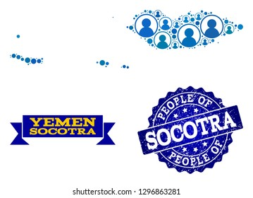 People composition of blue population map of Socotra Archipelago and rubber seal stamp. Vector seal with corroded rubber texture. Mosaic map of Socotra Archipelago designed with rounded users.
