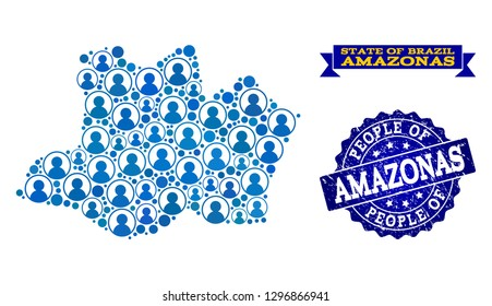 People composition of blue population map of Amazonas State and textured seal stamp. Vector seal with scratched rubber texture. Mosaic map of Amazonas State constructed with rounded users.