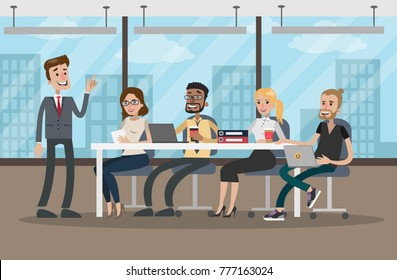 People at conference. Business meeting at office room.