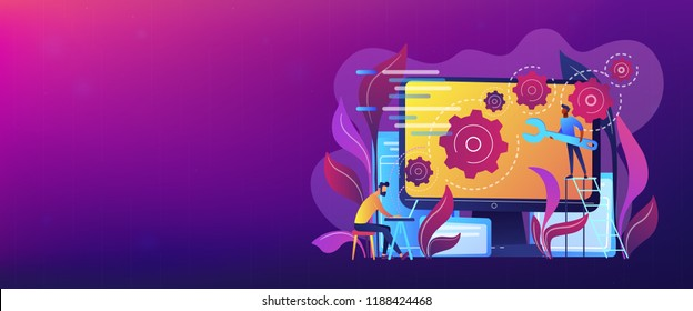 People configure the application on the big LCD screen with gears. Back end development it concept. Software development process. Violet palette. Back-end concept. Header or footer banner template.