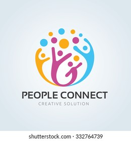 People connect logo, Communication ,family, Social Care, Kids, Sports, vector symbolic marks.