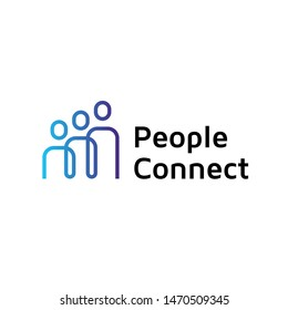 People Connect  logo design template. Vector human resources label with people icons. Line creative team illustration background. Together hr concept idea