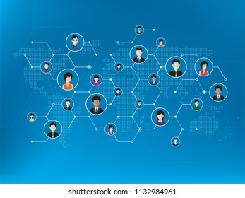 People connected by social media or social networks. Concept of communication, business, globalization. People icons, world map, hexagon design with lines in blue technology background.