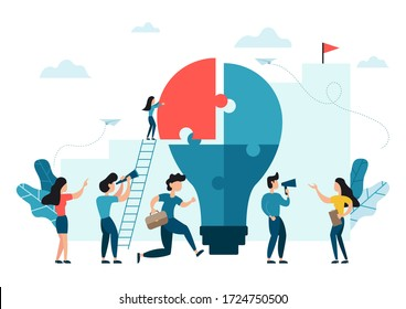 People connecting puzzle elements to build a light bulb. Vector illustration business concept. Team metaphor flat design style. Symbol of teamwork, cooperation, partnership for idea and success.