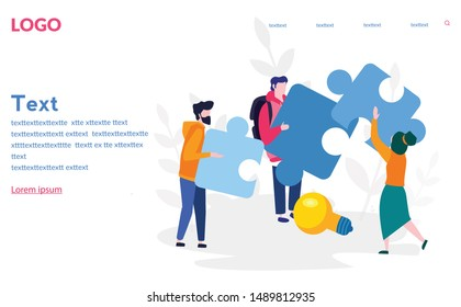 People connecting puzzle elements, Cooperation.  Vector illustration for web banner, mobile website. Landing page template. Team metaphor. teamwork, partnership.