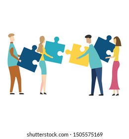 People connecting puzzle elements. isolated on white background. Vector illustration. Eps 10.