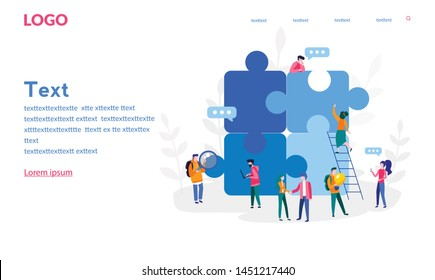 People connecting puzzle elements. Partnership. Vector illustration for web banner, print, infographics, mobile website. Landing page template. Team metaphor. Teamwork, cooperation.