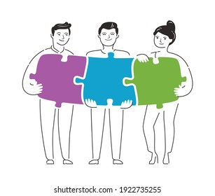 People connecting puzzle pieces. Teamwork, business concept vector illustration