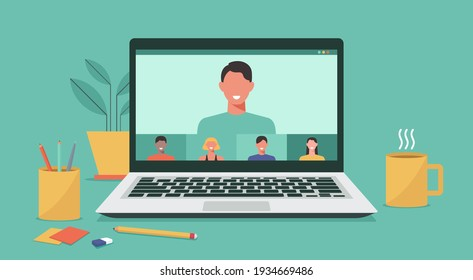 people connecting together, learning and meeting online via teleconference or video conference remote working on laptop computer, work from home and anywhere, flat vector illustration