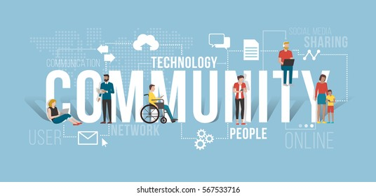 People connecting using smartphones and laptops, they are different but they are communicating together and sharing contents in the same community