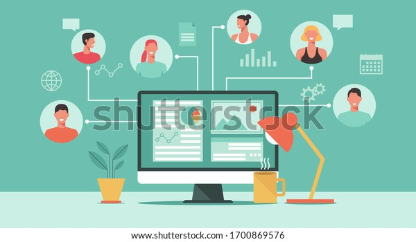 people connecting and working online together on computer, remote working, work from home and work from anywhere concept, flat vector illustration