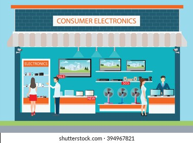 People in consumer electronics store, Electronics store interior and exterior building, laptops, mobile phones, television, Computers, pocket wifi, camera and fan on shelf ,vector illustration.