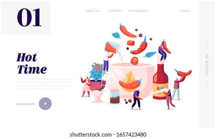 People Cooking Food with Hot Chili Website Landing Page. Tiny Characters Put Red and Black Chilli Pepper to Huge Boiling Sauce Pan Making Spicy Dish Web Page Banner. Cartoon Flat Vector Illustration