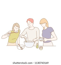 People in cooking practice. hand drawn style vector design illustrations.