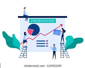 People cooperation prepare business presentation and online training increase sales and skills. Analysis company information concept. Cartoon Vector Illustration.