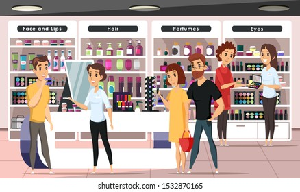 People in cosmetics shop flat vector illustration. Happy store customers and friendly staff cartoon characters. Young women buying makeup accessories. Seller consultant helping guy choose perfume