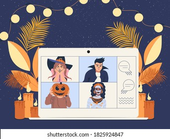 People in costumes on laptop during video call. Happy Halloween party online. Flat vector illustration.