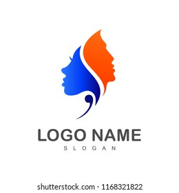 people couple logo, woman and man face silhouette
