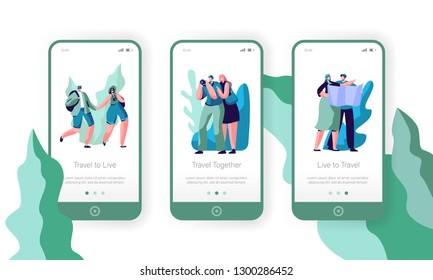 People Couple Travel Mobile App Page Onboard Screen Set. Tourist Man Walk at Vacation with Backpack, Camera and Map. Hiking Photographer for Website or Web Page. Flat Cartoon Vector Illustration