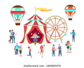 People, couples, pensioners, large families, parents with children, a grandmother with her grandchildren, Grandad with grandchildren going to the circus, the fair. Vector illustration.